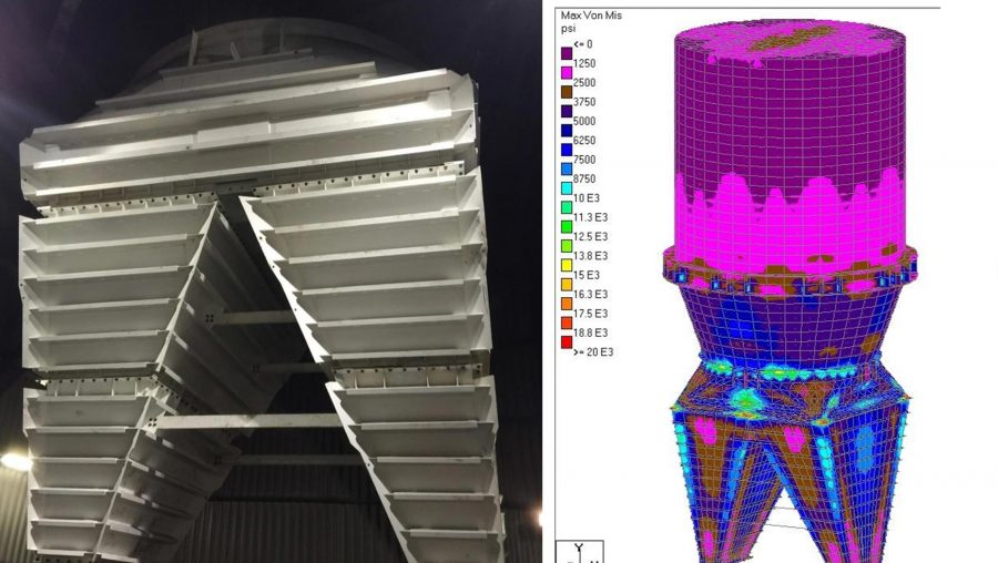 petcoke hopper and 3D rendering of stress contours