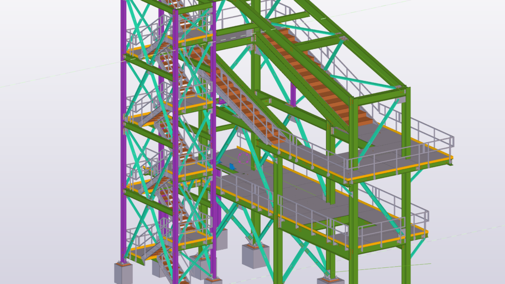 Pict 1 – Screen support with stair tower